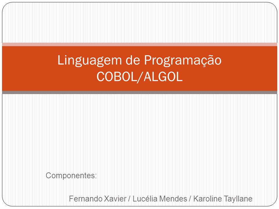 Linguagem de Programação COBOL/ALGOL
