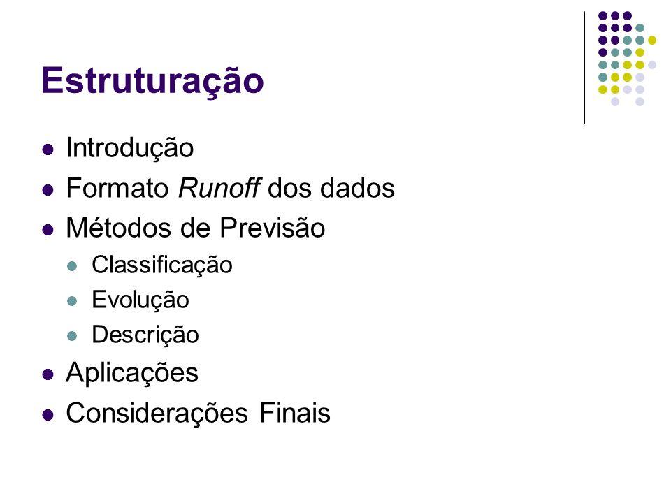 Estruturação Introdução Formato Runoff dos dados Métodos de Previsão