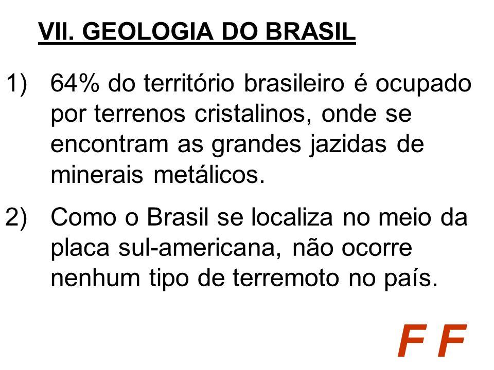 VII. GEOLOGIA DO BRASIL64% do território brasileiro é ocupado por terrenos cristalinos, onde se encontram as grandes jazidas de minerais metálicos.