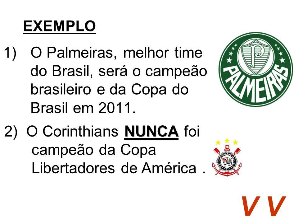 EXEMPLO O Palmeiras, melhor time do Brasil, será o campeão brasileiro e da Copa do Brasil em 2011.