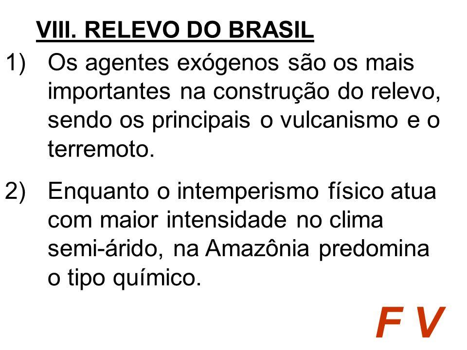 VIII. RELEVO DO BRASIL Os agentes exógenos são os mais importantes na construção do relevo, sendo os principais o vulcanismo e o terremoto.