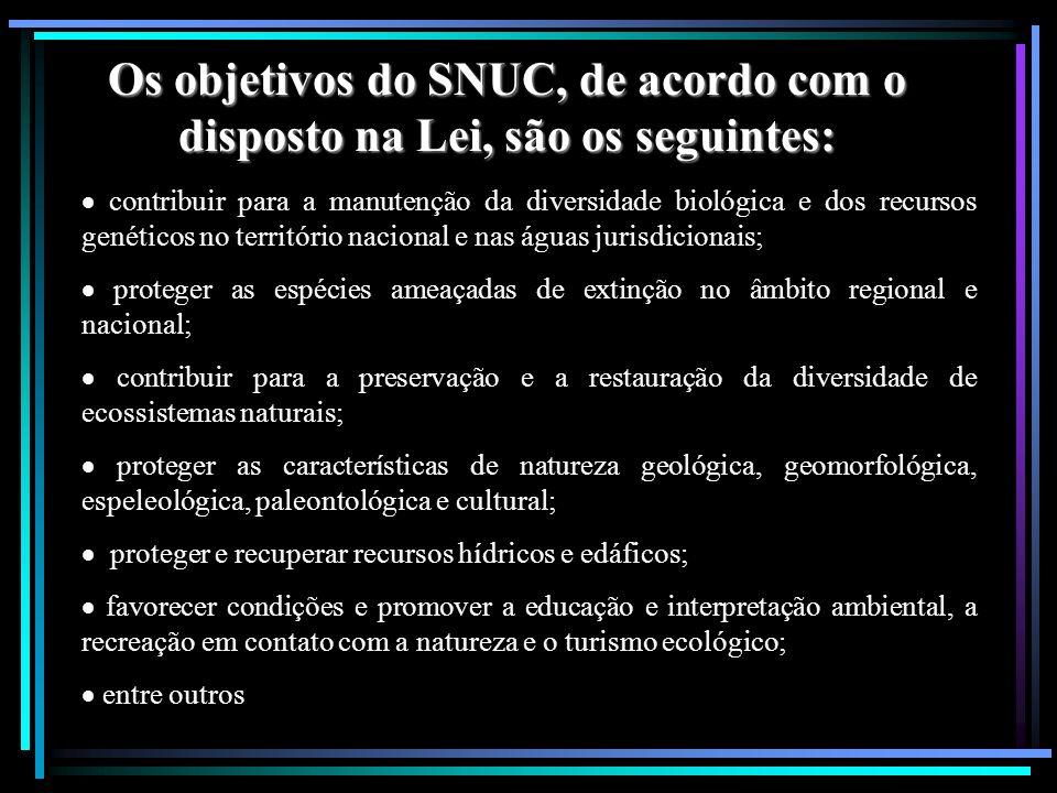 Os objetivos do SNUC, de acordo com o disposto na Lei, são os seguintes: