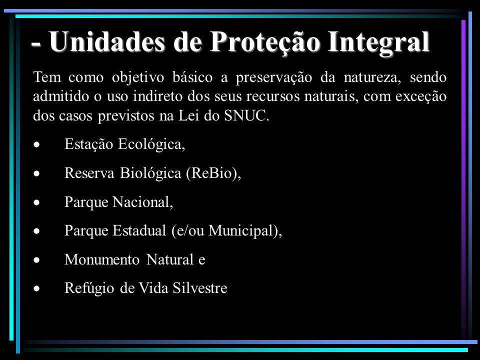 - Unidades de Proteção Integral