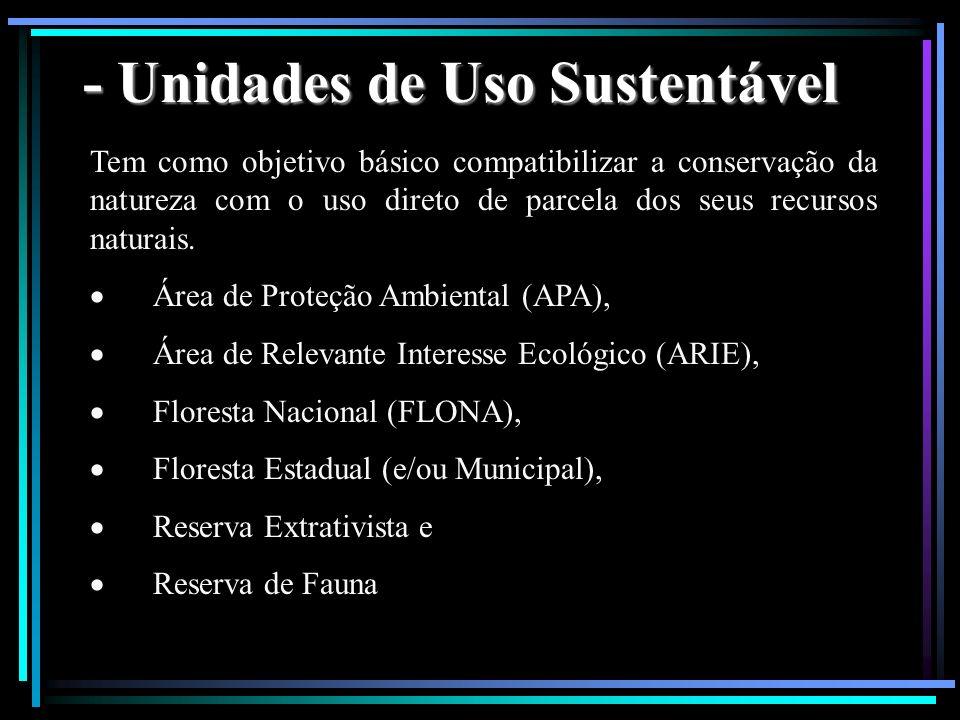 - Unidades de Uso Sustentável
