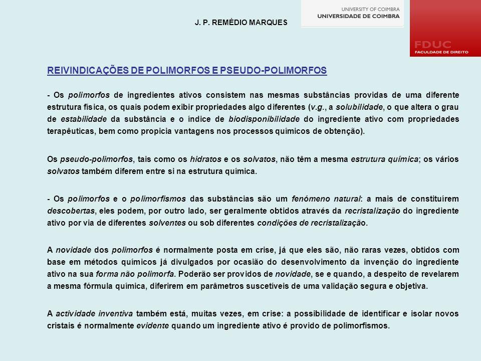 REIVINDICAÇÕES DE POLIMORFOS E PSEUDO-POLIMORFOS