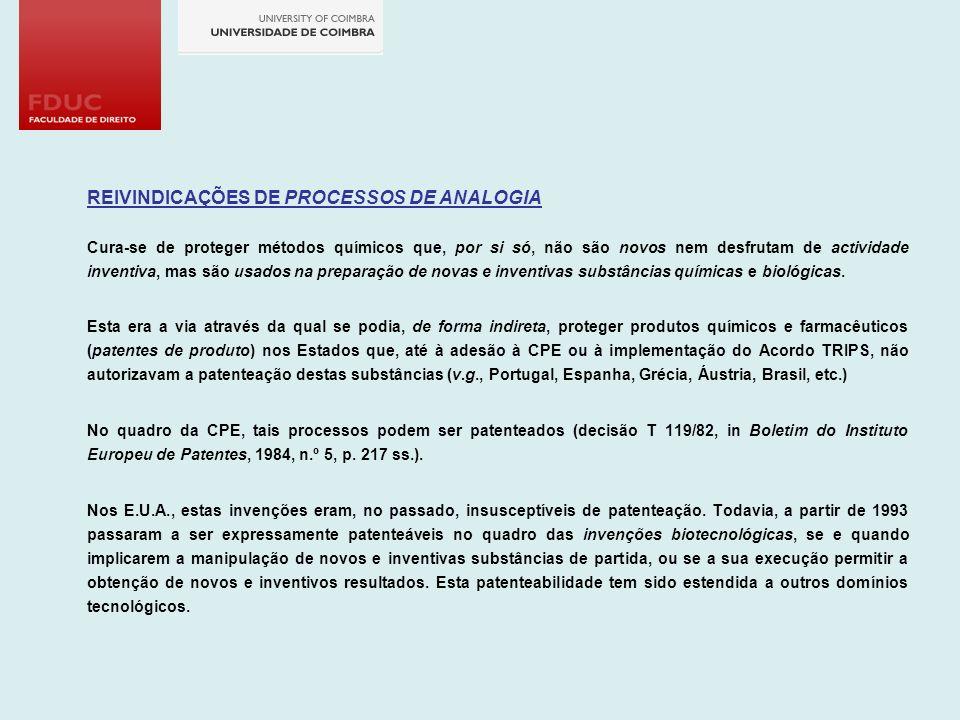 REIVINDICAÇÕES DE PROCESSOS DE ANALOGIA