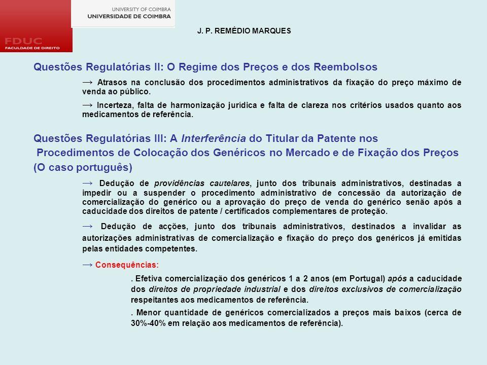 Questões Regulatórias II: O Regime dos Preços e dos Reembolsos