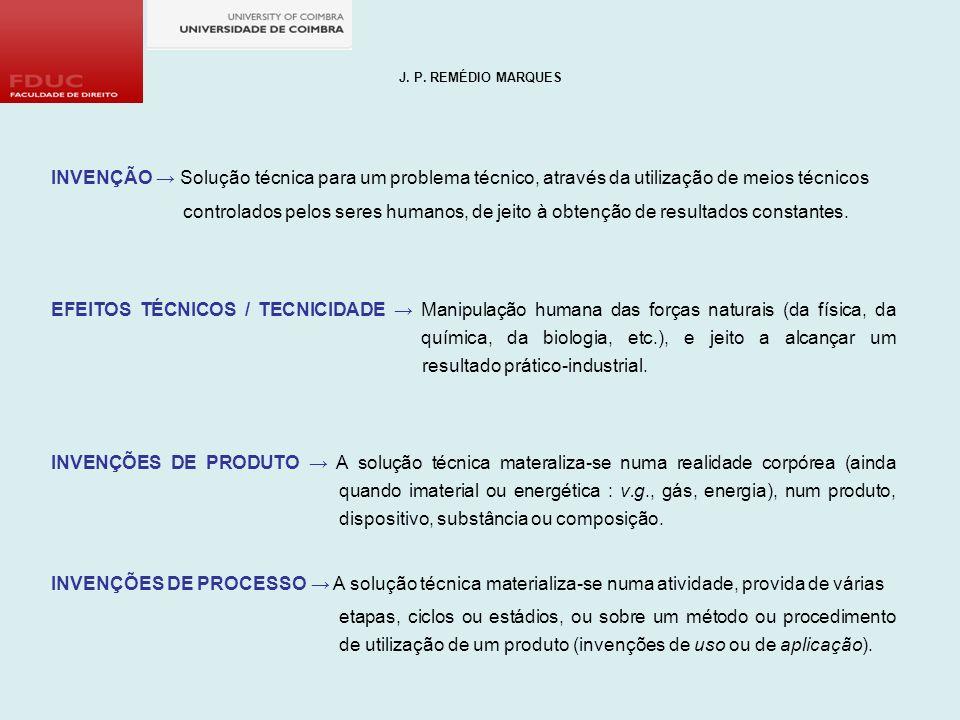 J. P. REMÉDIO MARQUES INVENÇÃO → Solução técnica para um problema técnico, através da utilização de meios técnicos.