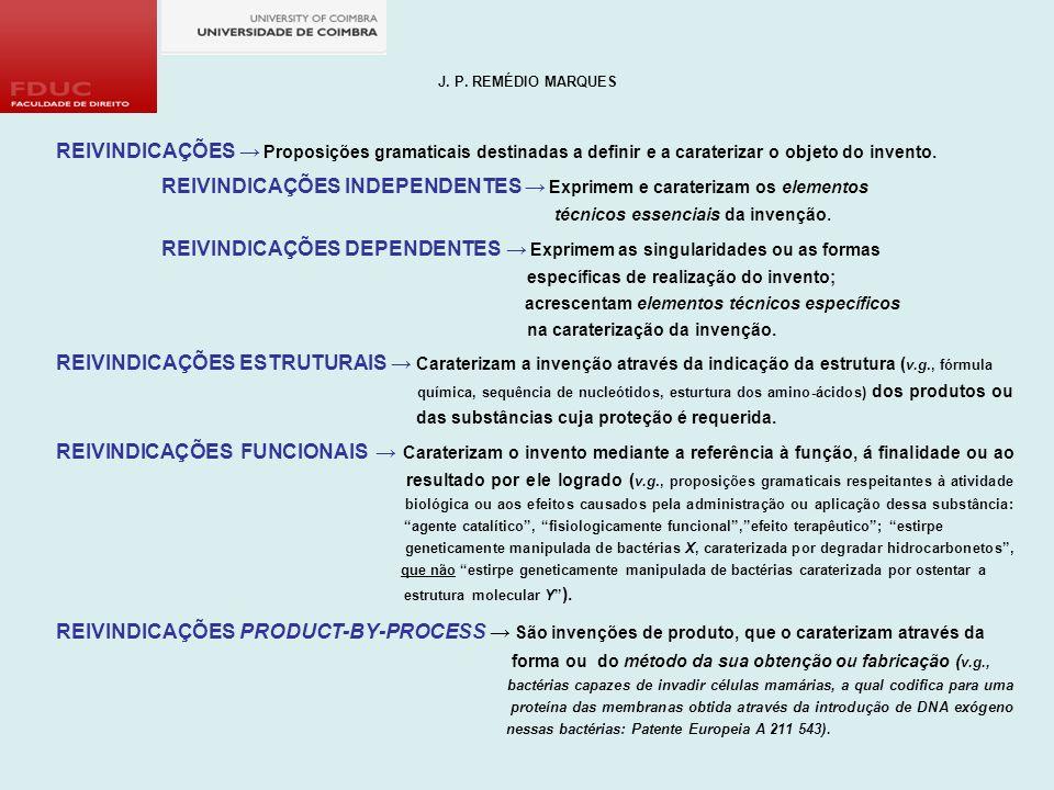 J. P. REMÉDIO MARQUES REIVINDICAÇÕES → Proposições gramaticais destinadas a definir e a caraterizar o objeto do invento.