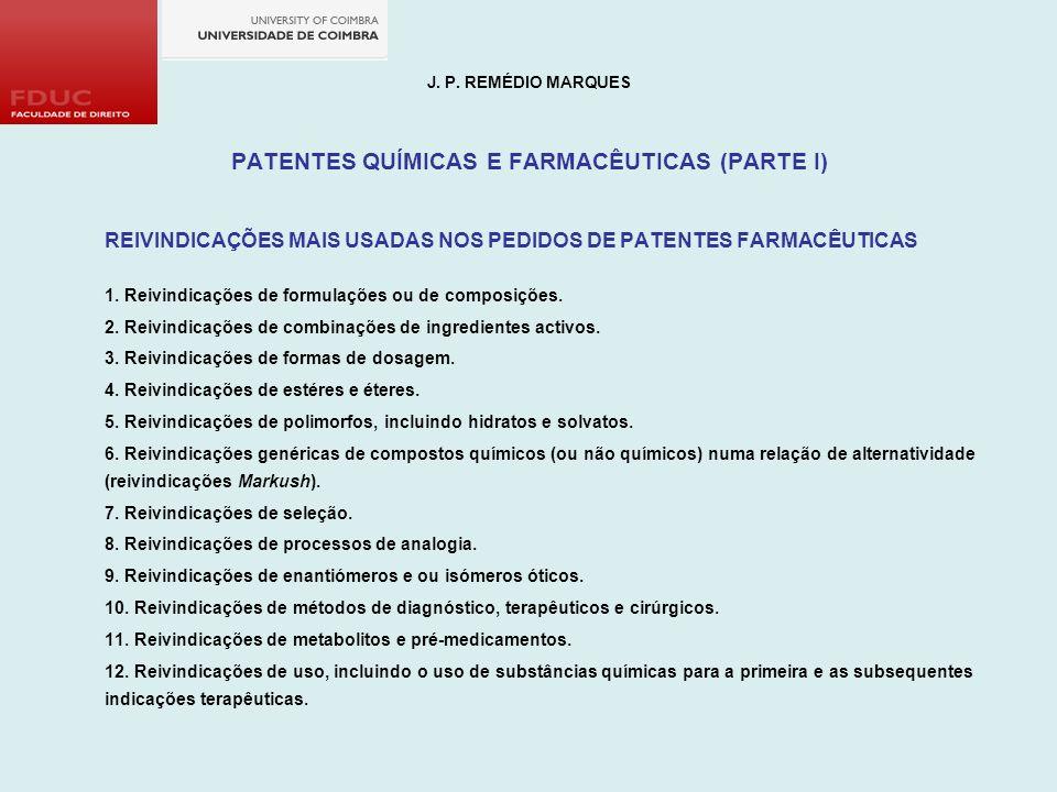 PATENTES QUÍMICAS E FARMACÊUTICAS (PARTE I)