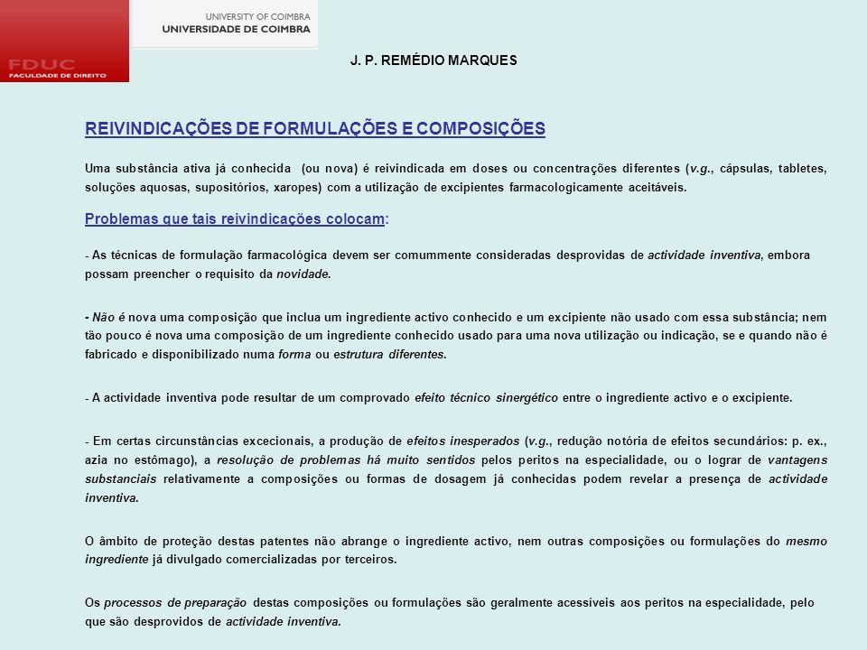 REIVINDICAÇÕES DE FORMULAÇÕES E COMPOSIÇÕES