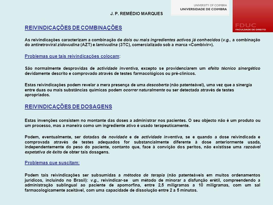 REIVINDICAÇÕES DE COMBINAÇÕES