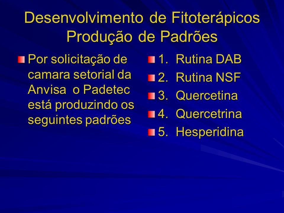 Desenvolvimento de Fitoterápicos Produção de Padrões