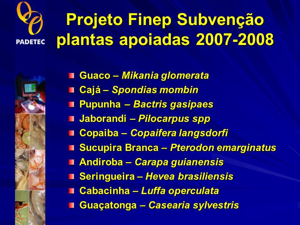Projeto Finep Subvenção plantas apoiadas 2007-2008