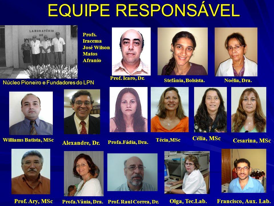EQUIPE RESPONSÁVEL Célia, MSc Cesarina, MSc Alexandre, Dr.