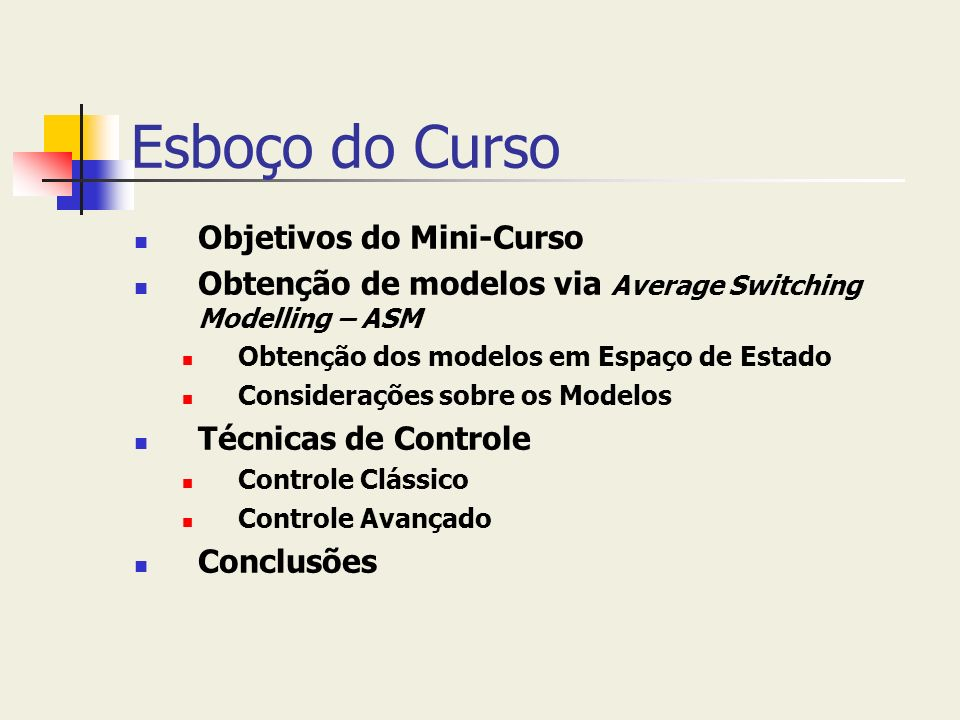 Esboço do Curso Objetivos do Mini-Curso