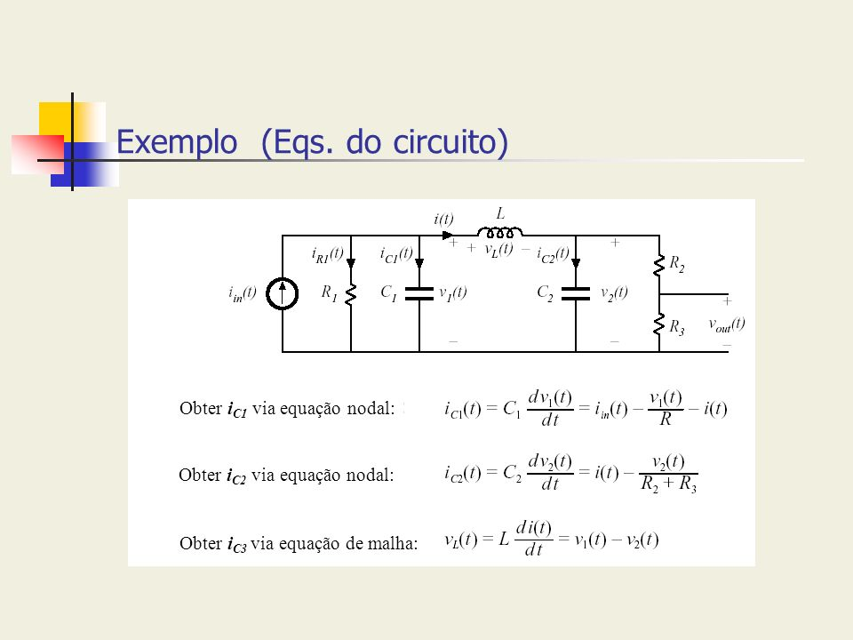 Exemplo (Eqs. do circuito)