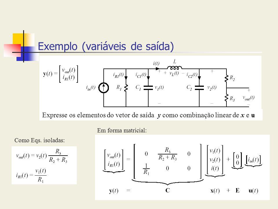 Exemplo (variáveis de saída)