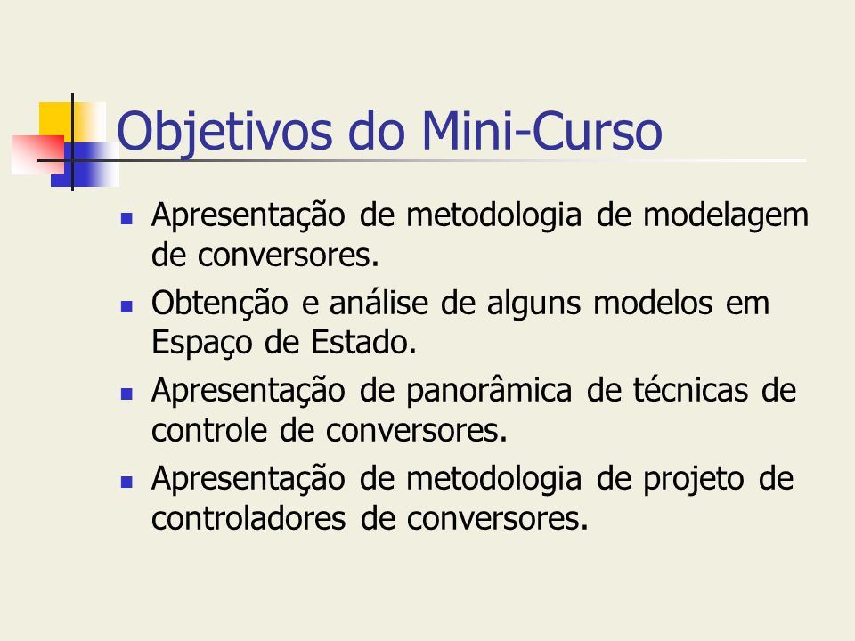 Objetivos do Mini-Curso