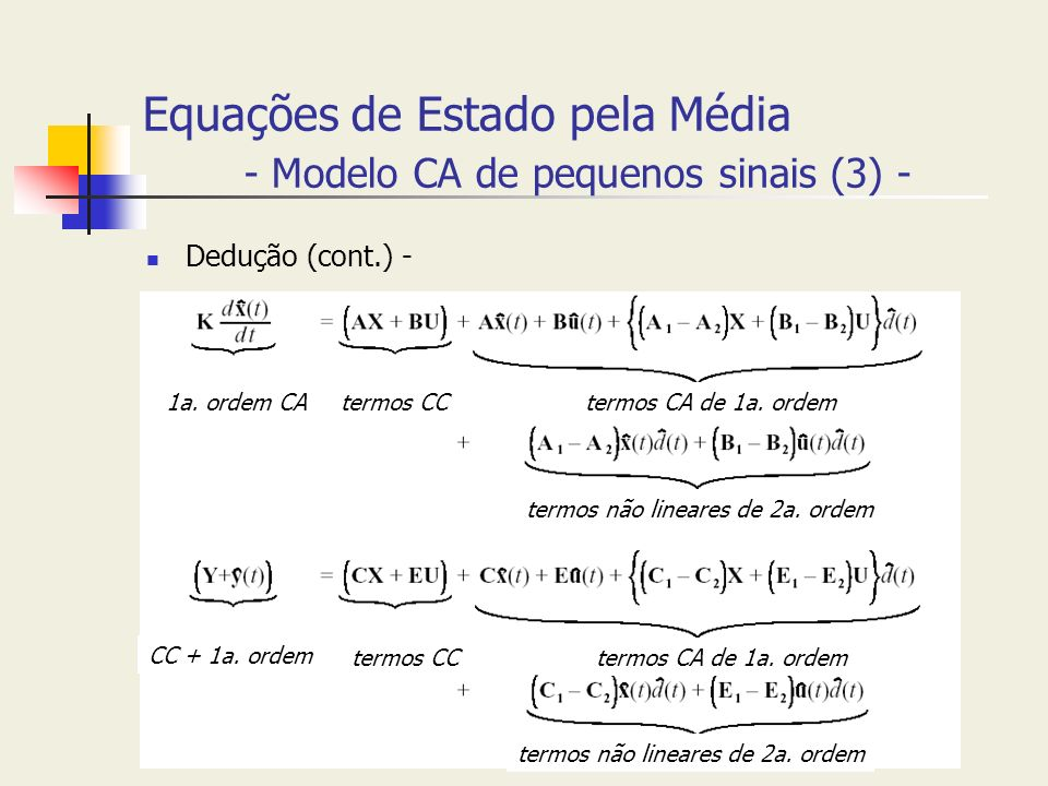 Equações de Estado pela Média - Modelo CA de pequenos sinais (3) -