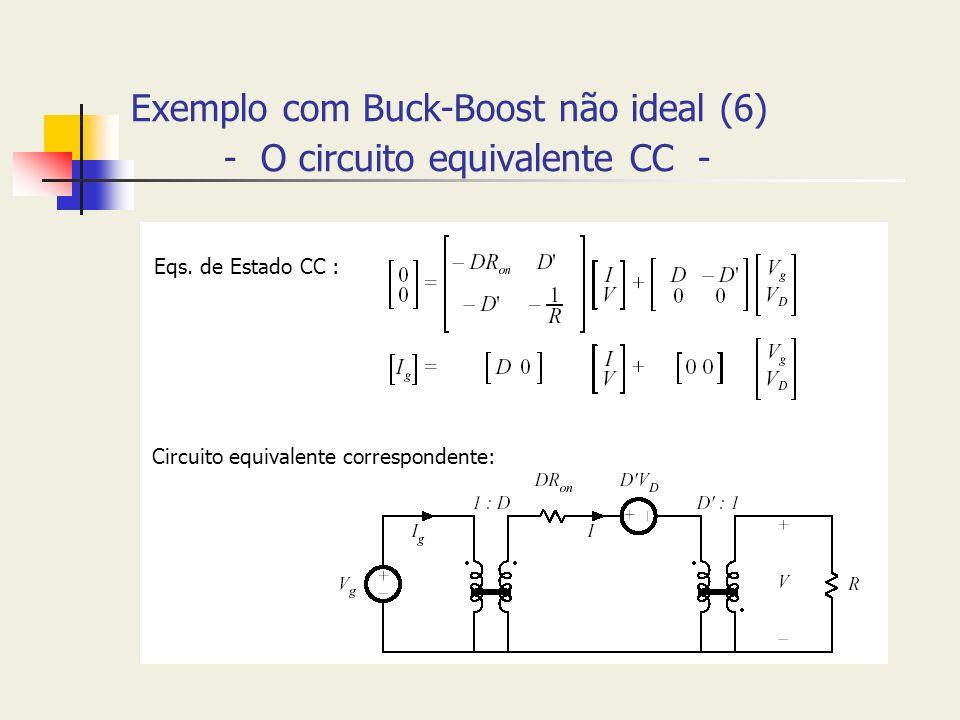 Exemplo com Buck-Boost não ideal (6) - O circuito equivalente CC -