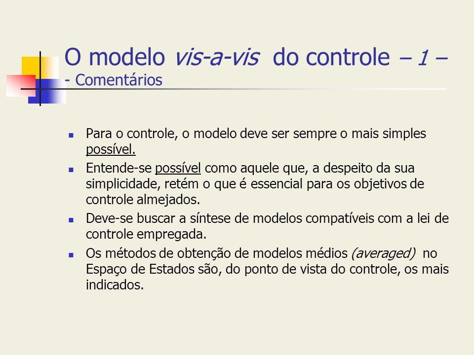 O modelo vis-a-vis do controle – 1 – - Comentários