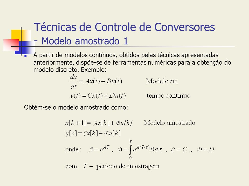 Técnicas de Controle de Conversores - Modelo amostrado 1