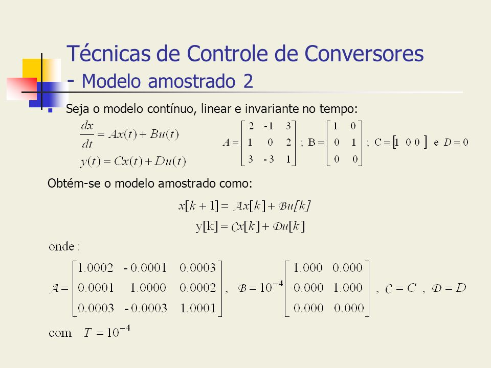 Técnicas de Controle de Conversores - Modelo amostrado 2