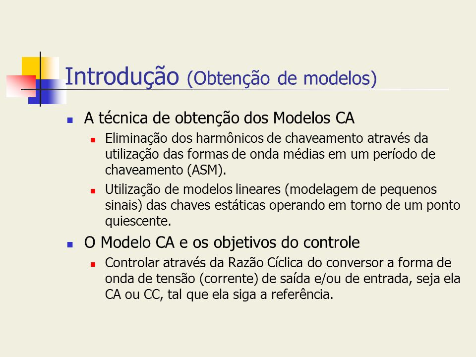 Introdução (Obtenção de modelos)