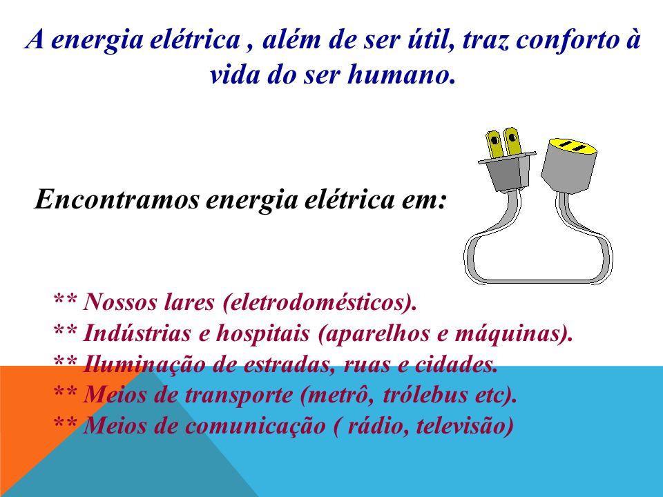 Encontramos energia elétrica em: