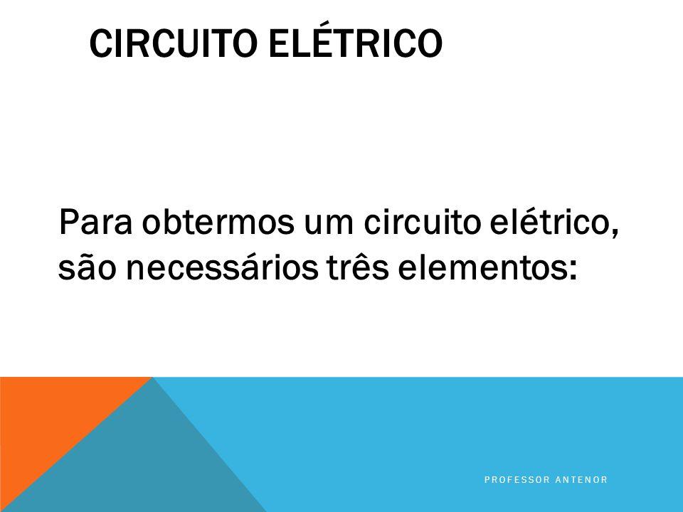 Circuito elétrico Para obtermos um circuito elétrico, são necessários três elementos: Professor Antenor.