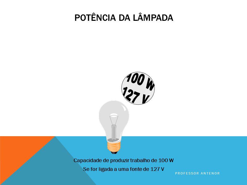 Potência da lâmpada 100 W. 127 V. Capacidade de produzir trabalho de 100 W Se for ligada a uma fonte de 127 V
