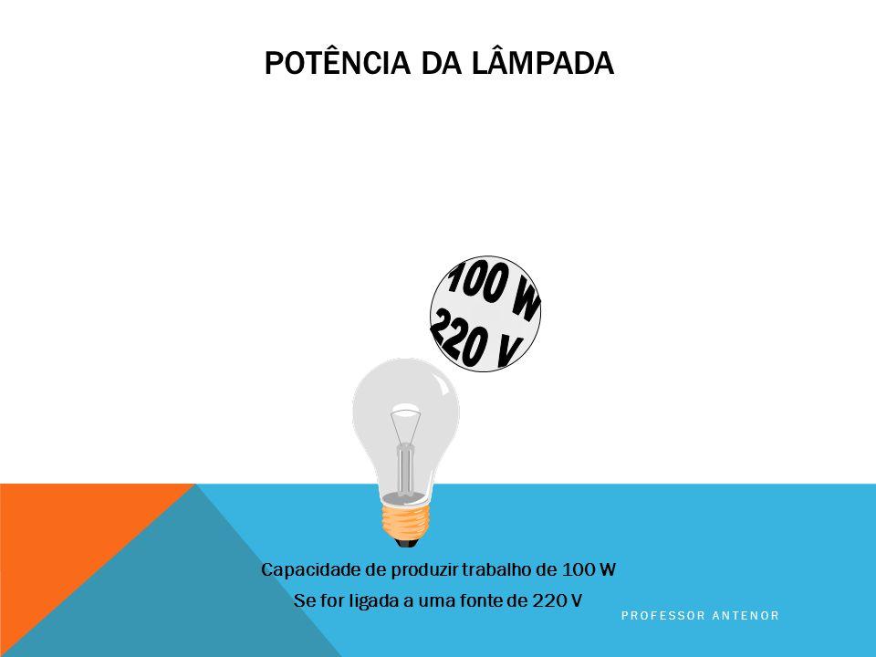 Potência da lâmpada 100 W. 220 V. Capacidade de produzir trabalho de 100 W Se for ligada a uma fonte de 220 V