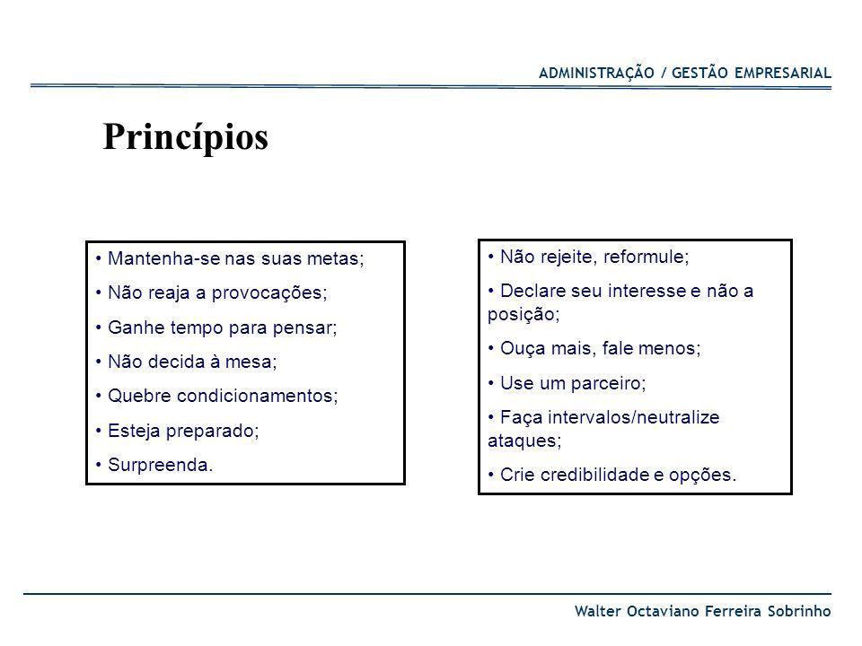 Princípios Mantenha-se nas suas metas; Não rejeite, reformule;