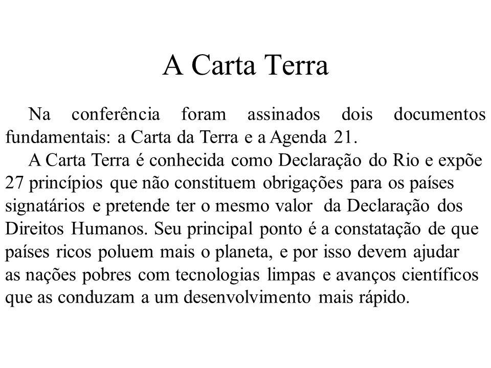 A Carta Terra Na conferência foram assinados dois documentos fundamentais: a Carta da Terra e a Agenda 21.