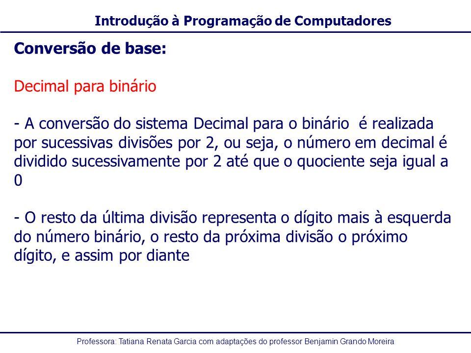 Conversão de base: Decimal para binário.