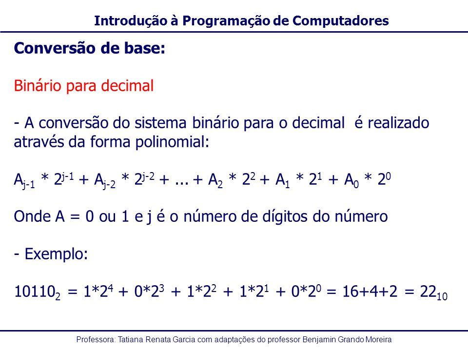 Conversão de base: Binário para decimal. A conversão do sistema binário para o decimal é realizado através da forma polinomial: