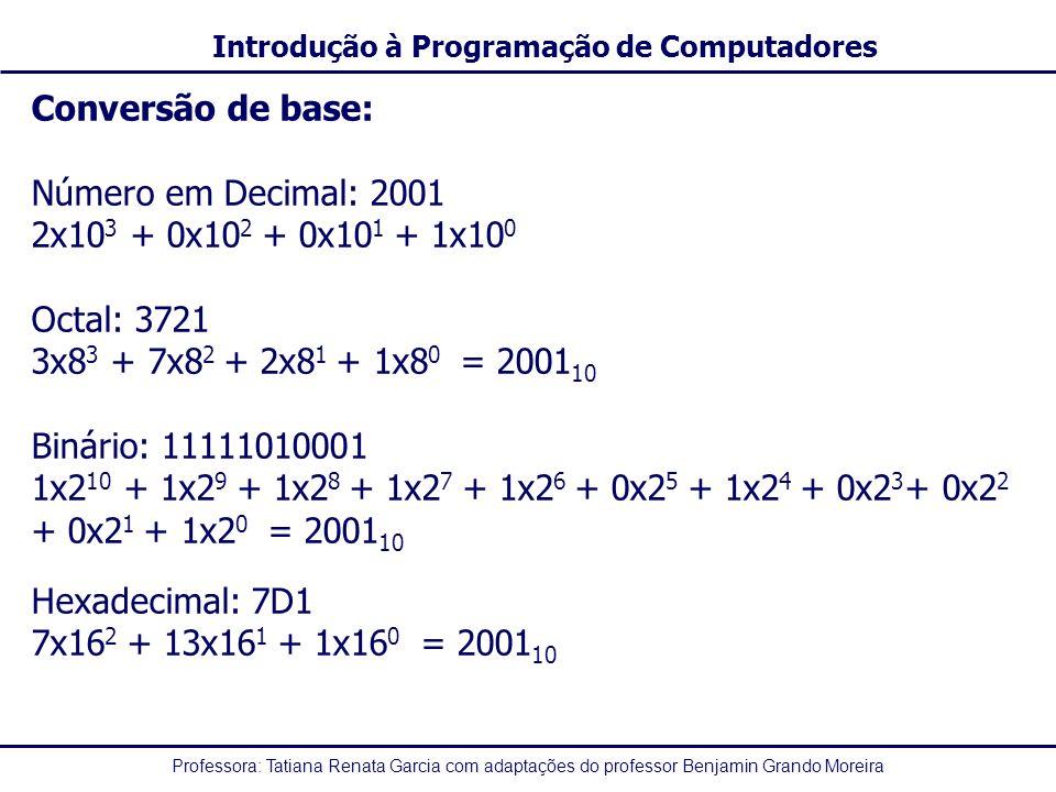 Conversão de base: Número em Decimal: 2001. 2x103 + 0x102 + 0x101 + 1x100. Octal: 3721. 3x83 + 7x82 + 2x81 + 1x80 = 200110.