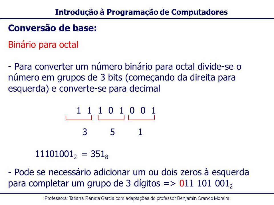 Conversão de base: Binário para octal.