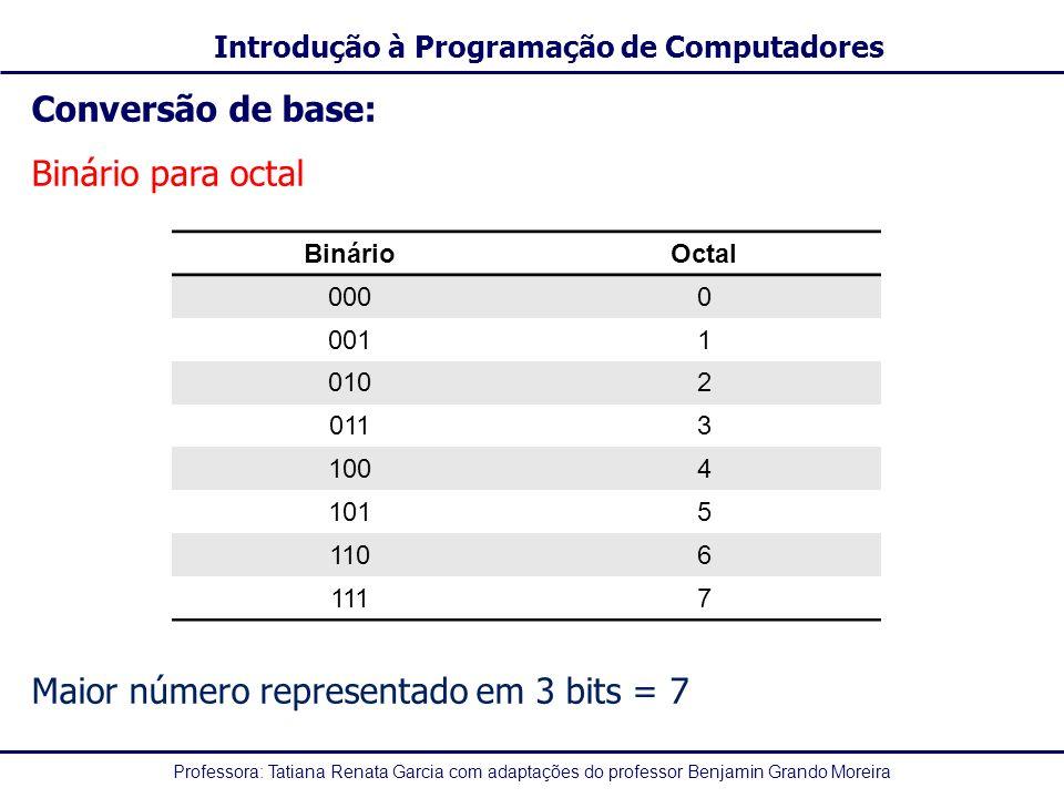 Maior número representado em 3 bits = 7
