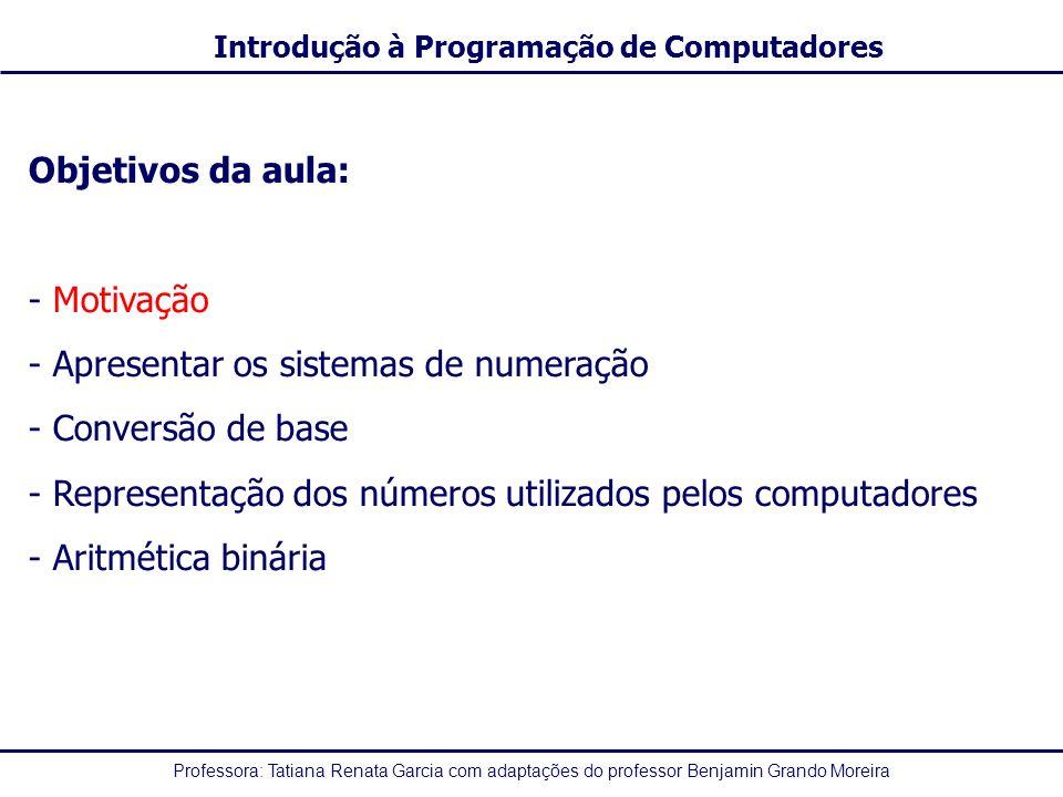 Objetivos da aula: Motivação. Apresentar os sistemas de numeração. Conversão de base. Representação dos números utilizados pelos computadores.