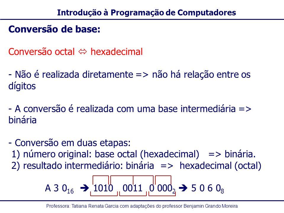 Conversão de base: Conversão octal  hexadecimal. Não é realizada diretamente => não há relação entre os dígitos.