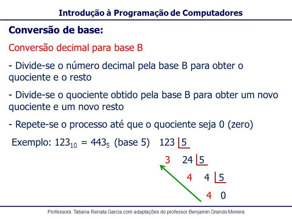 Conversão de base: Conversão decimal para base B. Divide-se o número decimal pela base B para obter o quociente e o resto.