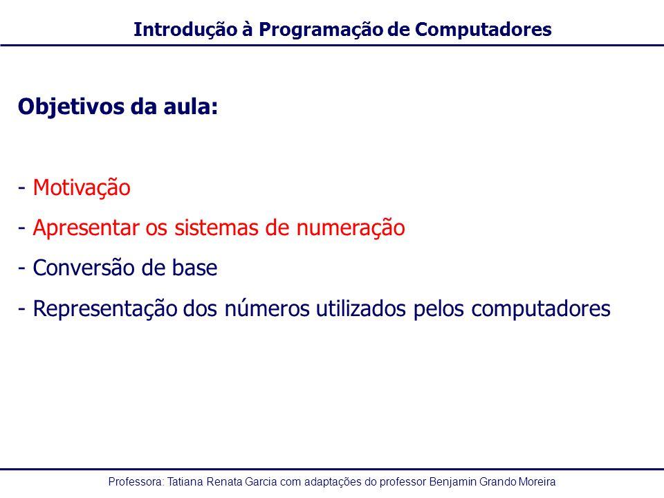 Objetivos da aula: Motivação. Apresentar os sistemas de numeração.