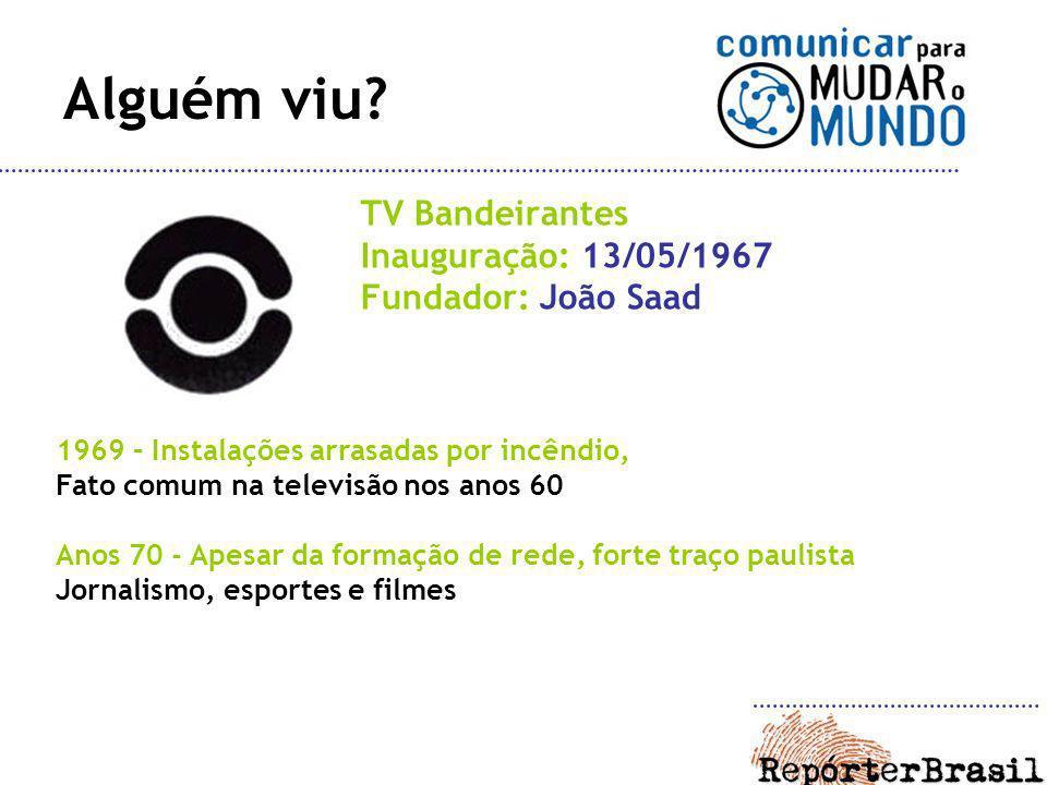 Alguém viu TV Bandeirantes Inauguração: 13/05/1967