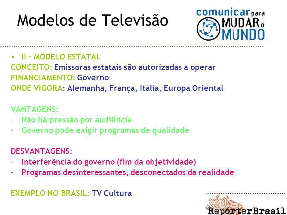 Modelos de Televisão II – MODELO ESTATAL