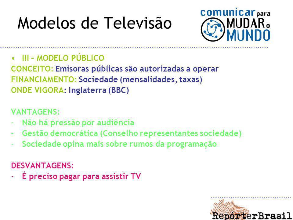 Modelos de Televisão III – MODELO PÚBLICO