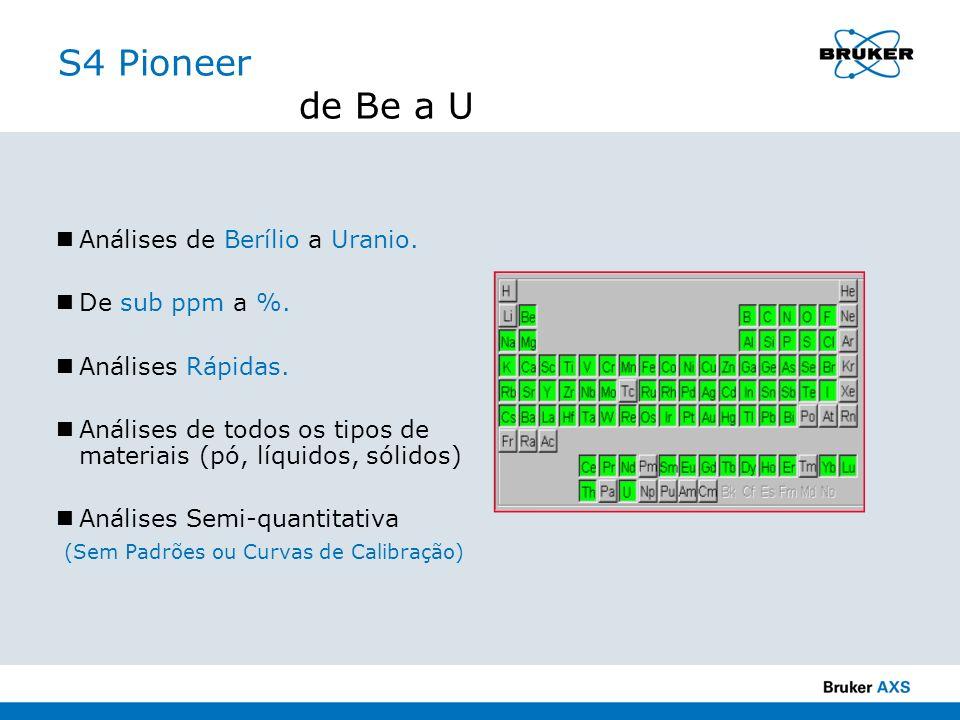 S4 Pioneer de Be a U Análises de Berílio a Uranio. De sub ppm a %.