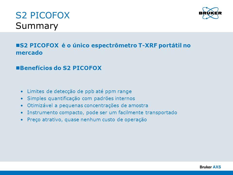 S2 PICOFOX Summary S2 PICOFOX é o único espectrômetro T-XRF portátil no mercado. Benefícios do S2 PICOFOX.