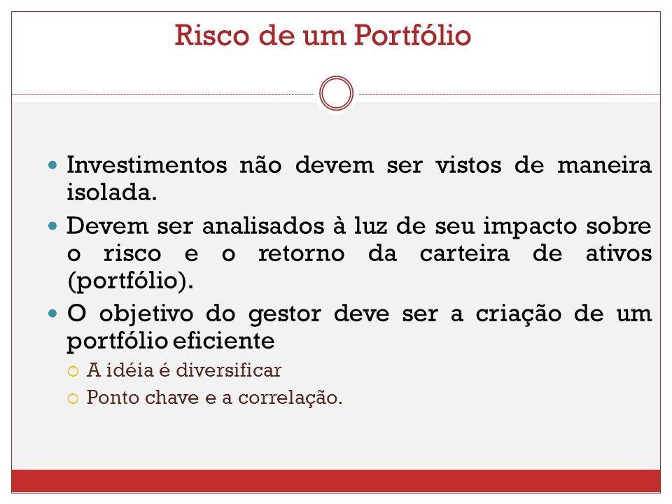 Risco de um Portfólio Investimentos não devem ser vistos de maneira isolada.